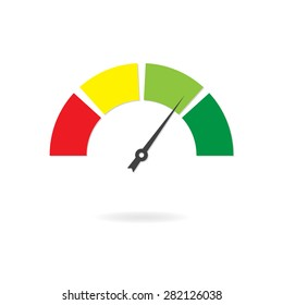 Speedometer icon or sign with arrow. Colorful Infographic gauge element.