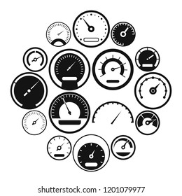 Speedometer icons set in simple style isolated illustration