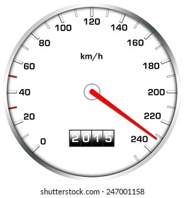 speedometer illustration with needle on high speed, white background,