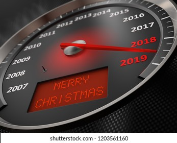 The speedometer indicates 2019 and the inscription on the screen: Merry Christmas. 3d render