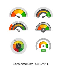 Speedometer indicators gauges low, moderate and high measurement levels stock. Level and rating illustration