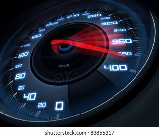 Speedometer scoring high speed in a fast motion blur.