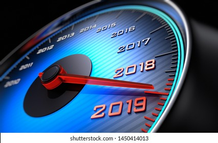 Speedometer showing the year 2019 - 3D illustration