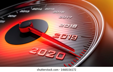 Speedometer showing the year 2020 - 3D illustration