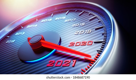 Speedometer showing the year 2021 - 3D illustration