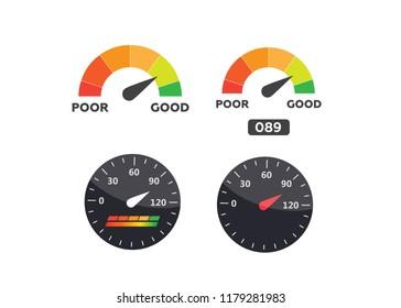 Speedometer, tachometer . Arrow score good indicator