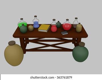 Spell Medieval Table Render