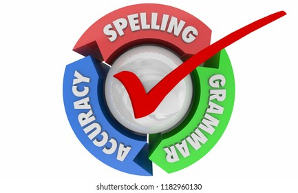 Spelling Grammar Accuracy Proofreading Check Process 3d Illustration