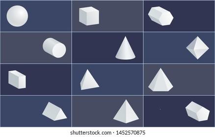 Sphere and cube cone cuboid geometric figures set octahedron cylinder triangular pentagonal prisms square pyramid raster illustration