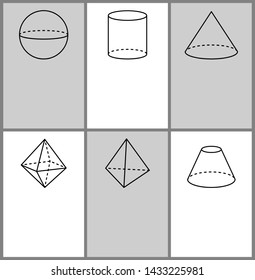 Sphere cylinder cone octahedron tetrahedron and blunted geometric shapes projections symmetric figures with dashes lines raster set text