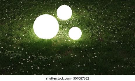 sphere lights in the garden 3d rendering