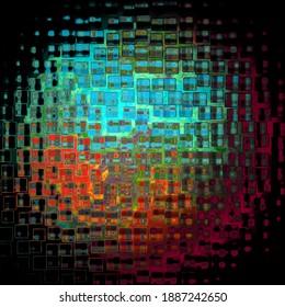 Sphere wie Planet oder Zelle durch Glasbearbeitung mit Wassertropfen. Durch ihn, unscharfer Bokeh und mehrfarbige Flecken.