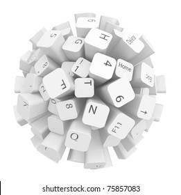 Sphere made of computer keyboard keys, over white, isolated