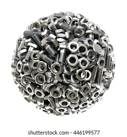 sphere made from nuts and bolts. isolated on white background. 3D illustration.
