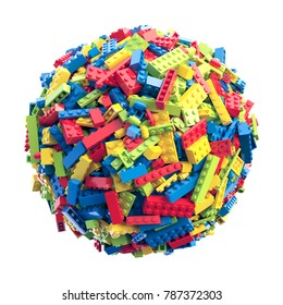 Sphere made of random colored toy bricks. 3D Rendering.