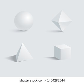 Sphere octahedron tetrahedron and cube three dimensional 3d geometric shapes with shadow isolated on white