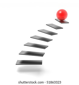 sphere on top of ladder of success (red and black series)