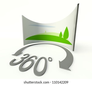 Spherical 360 degrees panorama icon, symbol and sign