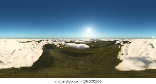 Spherical 360 degrees seamless panorama with a view over the clouds Computer generated 3D illustration