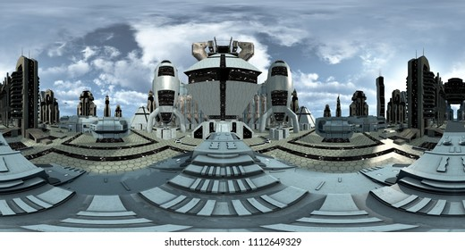 Spherical 360 degrees, seamless panorama of a futuristic discovered city. 3D rendering