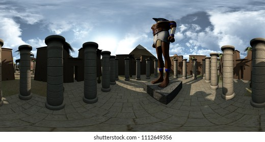 Spherical 360 degrees, seamless panorama of ancient Egypt archtecture temple and Horus. 3D rendering