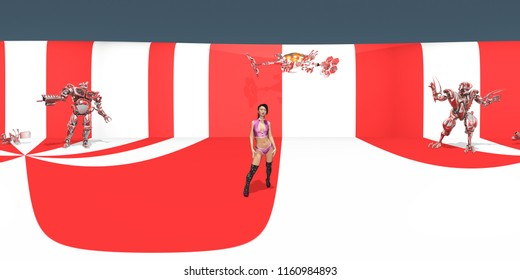 Spherical 360 degrees seamless panorama with attractive woman and robots in a futuristic environment Computer generated 3D illustration