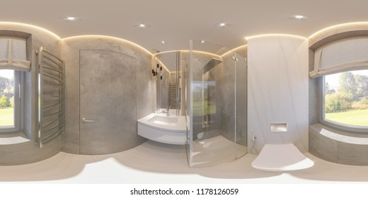 Spherical 360 degrees, seamless panorama bathroom interior design with glass walk in shower. Illustration of the interior in a modern style in gray tones. Natural stone, marble.