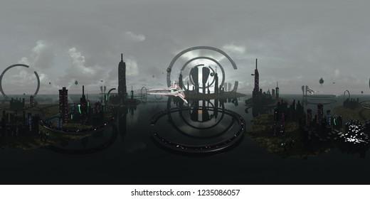 Spherical 360 degrees, seamless panorama alien futuristic city. 3D rendering