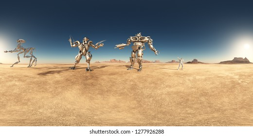 Spherical 360 degrees seamless panorama with robots and astronaut in a desert  Computer generated 3D illustration
