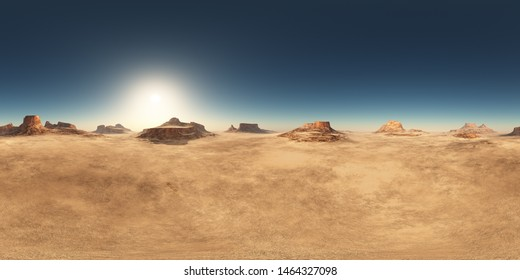 Spherical 360 degrees seamless panorama with a desert landscape Computer generated 3D illustration
