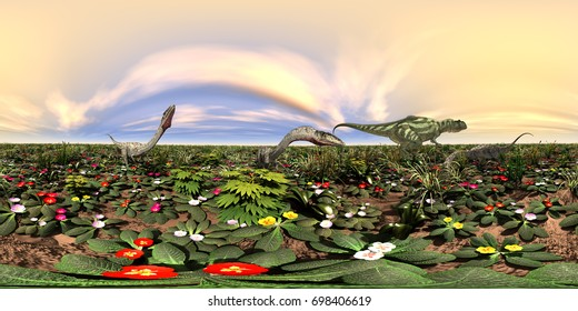 Spherical 360 degrees seamless panorama with the dinosaurs Yangchuanosaurus and Coelophysis Computer generated 3D illustration