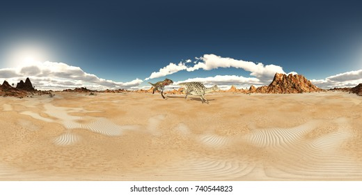 Spherical 360 degrees seamless panorama with the dinosaurs Nanotyrannus and Velafrons in a desert landscape Computer generated 3D illustration