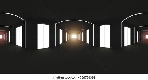 spherical 360 degrees,panorama of the corridor interior design (3D rendering),black space area