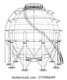 Spherical gas tank outline. 3D illustration. Wire-frame style