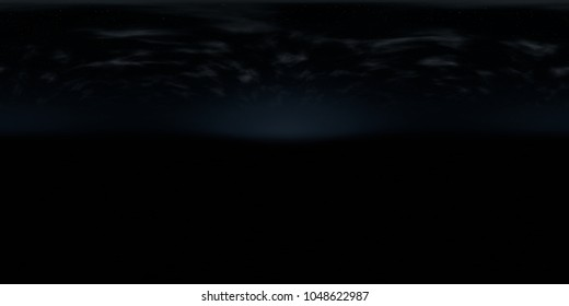 spherical panorama, high resolution environmental 360 degree HDRI map, 3d illustration background, 8k, for equirectangular projection (dark blue starry sky after sunset with clouds over landscape)