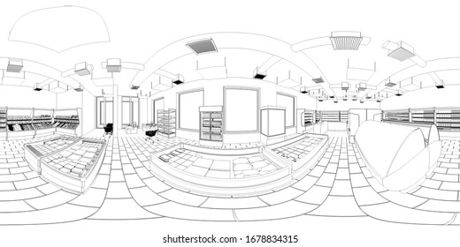 spherical panorama of the interior, contour visualization, 3D illustration, sketch, outline