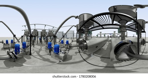 spherical panorama of the oil refinery, chemical production, waste processing plant, exterior visualization, 3D illustration