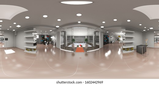 spherical panoramic render of the store, interior visualization, 3D illustration