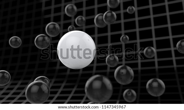 Spherical particles floating around cyber grid - 3D Illustration