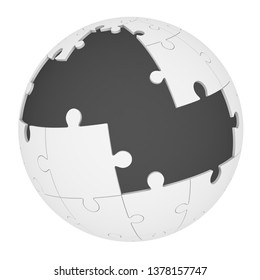 Spherical puzzle with missing pieces. Sphere made from jigsaw puzzle with missing pieces. Isolated. 3D Illustration