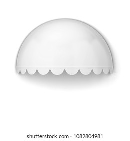 Spherical store awning. 3d illustration isolated on white background