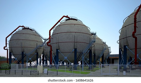 Spherical tank, Horton sphere , spherical pressure vessel, for storage of compressed gases such as propane, liquefied petroleum gas or butane in a liquid gas stage, 3d rendering, 3d illustration