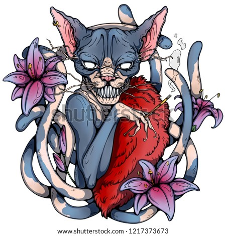 Sphynx Cat Seven Tails Tattoo Sketch Stock Illustration 1217373673