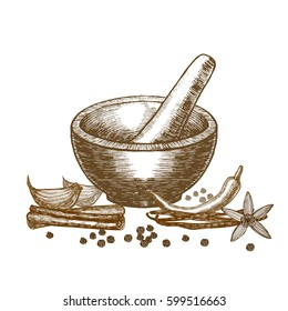 Spices and Mortar with Pestle Hand Draw Sketch for Card or Poster. illustration