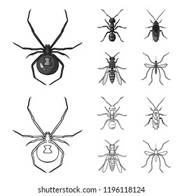 Spider, ant, wasp, bee .Insects set collection icons in outline,monochrome style bitmap symbol stock illustration web.