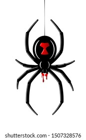 Spider Black Widow. Red black bug spider 3D, isolated white background. Scary Halloween redblack icon, symbol horror, animal arachnid, creepy dangerous insect, arachnophobia fear illustration
