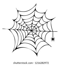 Spider building his net icon isolated on white background. raster illustration with big black scary arthropod working on his trap