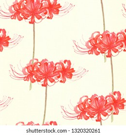 Spider lily, seamless pattern