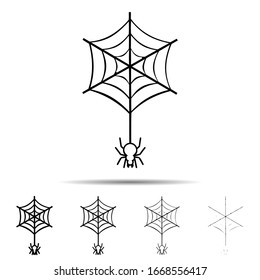 Spider on the web different shapes icon. Simple thin line, outline of halloween icons for ui and ux, website or mobile application on white background