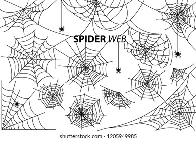 Spider web collection of  illustrations with inscription isolated on white background. Black silhouettes of small multi-legged arthropods hanging
